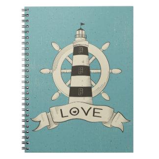 Blue Nautical Lighthouse & Ship Wheel Love Notebooks