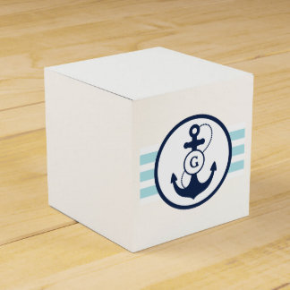 Blue Nautical Monogram Party Favor Box