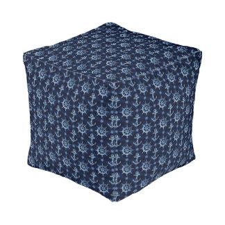 Blue Nautical Pattern Cube Pouf