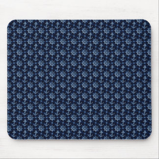 Blue Nautical Pattern Mouse Pad