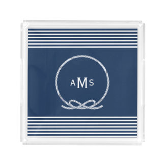 Blue Nautical Rope Frame Monogram Acrylic Tray
