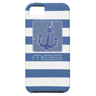 blue nautical sailor anchor custom initials case for the iPhone 5