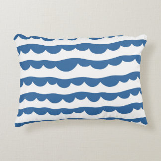 Blue Nautical Scallop Edge Sketch Pattern Accent Pillow