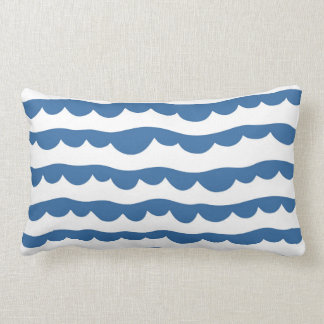 Blue Nautical Scallop Edge Sketch Pattern Lumbar Pillow