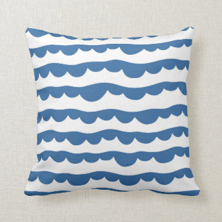 Blue Nautical Scallop Edge Sketch Pattern Throw Pillow