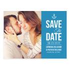 BLUE NAUTICAL SCRIPT PHOTO SAVE THE DATE POSTCARD