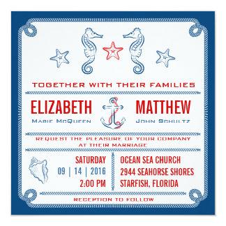 Blue - Nautical Seahorse Wedding Invitation