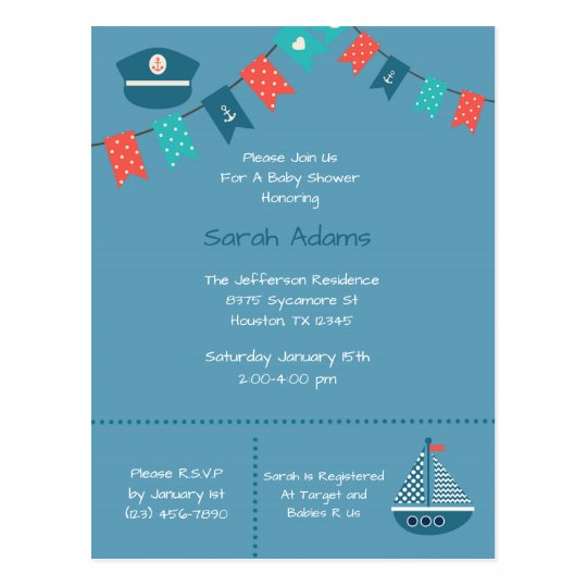 Blue Nautical Ship Baby Shower Postcard