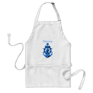 Blue Nautical Ships Wheel And Anchor Standard Apron