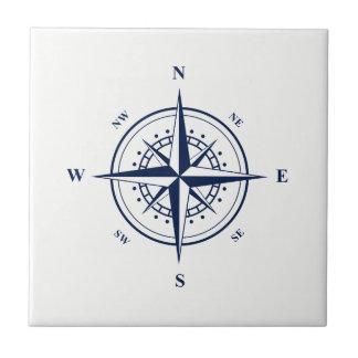 Blue Nautical Star on White Ceramic Tile
