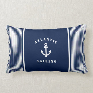 Blue Nautical Striped Pillow with Anchor Label