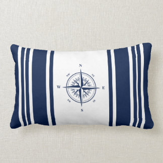 Blue Nautical Striped Pillow with Nautical Star
