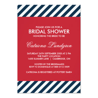 Blue Nautical Stripes Bridal Shower Invitation