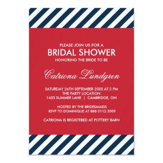 Blue Nautical Stripes Bridal Shower Invitation