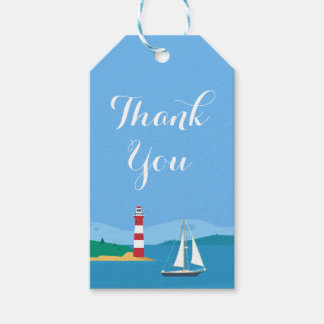 Blue Nautical Thank You Sailboat Lighthoust Gift Tags