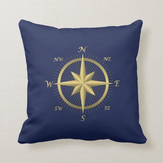 Blue Nautical Wedding Pillows Gold Compass
