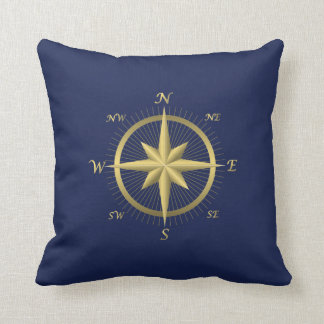 Blue Nautical Wedding Pillows Gold Compass