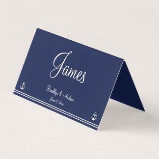 Blue Nautical Wedding Table Seating Cards Folded