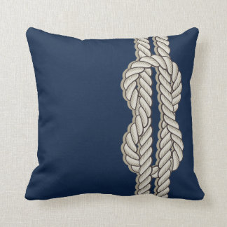 Blue Nautical with Ship's Rope Throw Pillow
