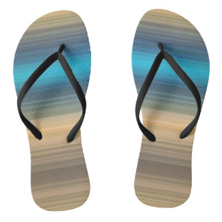 Blue, navy and brown stripes flip flops