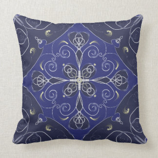 Blue Navy baroque style pattern Throw Pillow