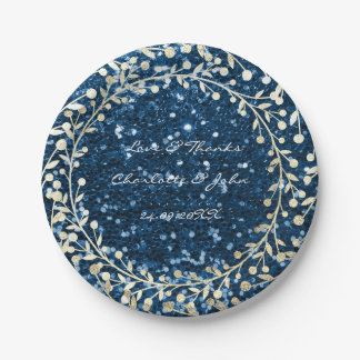 Blue Navy Glitter Foxier Gold Wreath Garland Paper Plate