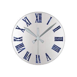 Blue Navy Glitter Metal  Gray Silver Roman Numbers Round Clock