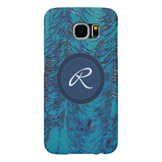 Blue navy ripples texture monogram samsung galaxy s6 cases