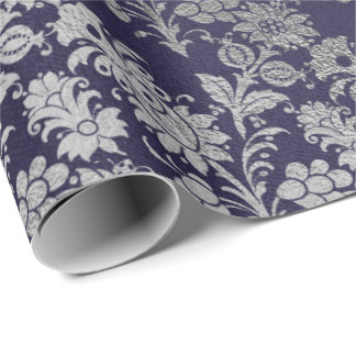Blue Navy Royal Silver Gray Floral Powder Floral Wrapping Paper
