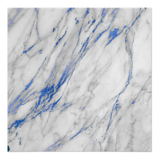 Blue Navy Sapphire White Gray Stone Marble Poster