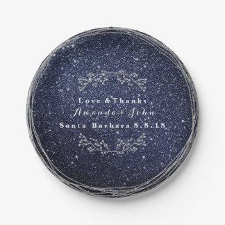 Blue Navy Silver Floral Wreath Wedding Glitter Paper Plate