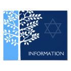 Blue Navy Tree of Life Bar Mitzvah Information Card