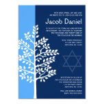 Blue Navy Tree of Life Bar Mitzvah Invitations
