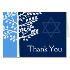 Blue Navy Tree of Life Bar Mitzvah Thank You Card