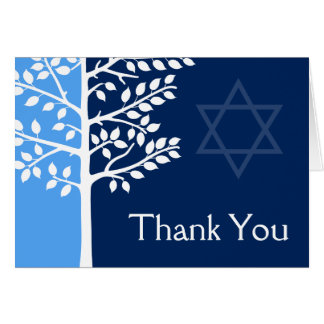 Blue Navy Tree of Life Bar Mitzvah Thank You Note Card