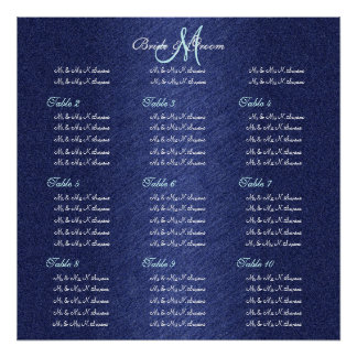 Blue navy wedding seating charts posters