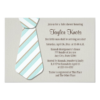 Blue Necktie Little Man Baby Shower Invitations