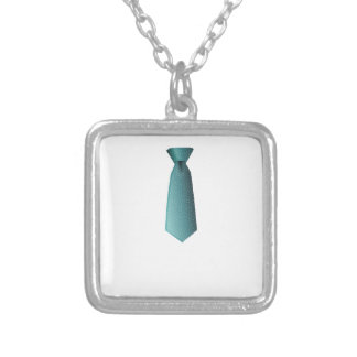 Blue Necktie Silver Plated Necklace