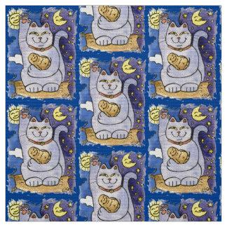 Blue Neko with Buddha on Gold Pillow Fabric