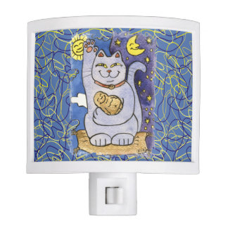 Blue Neko with Buddha on Gold Pillow Night Lite