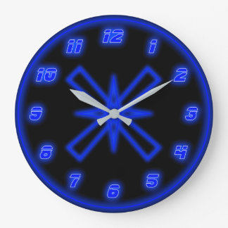 Blue Neon (Effect) Large Clock