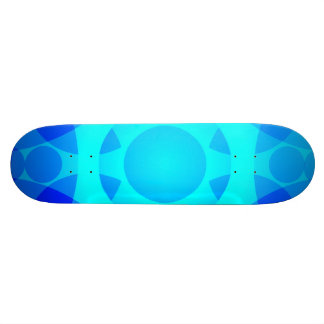 Blue Neon Floral Mandala Lights Skateboard Deck