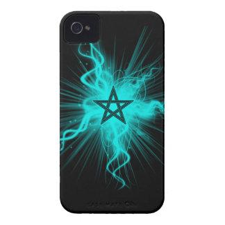 Blue Neon Glowing Pentagram - Pagan Symbol iPhone 4 Case-Mate Case