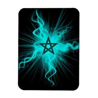 Blue Neon Glowing Pentagram - Pagan Symbol Rectangular Photo Magnet