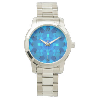 Blue Neon Mosaic Psychedelic Wrist Watch