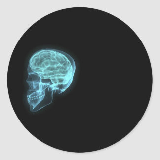Blue Neon Side View X-ray Skull on Black Round Sticker