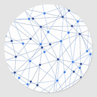 Blue network connection on white background classic round sticker