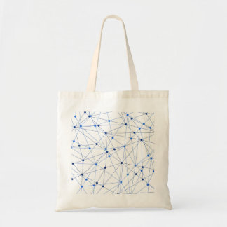 Blue network connection on white background tote bag