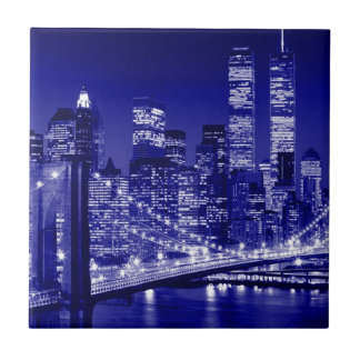 Blue New York City Night Ceramic Tile