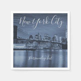 Blue New York City Personalize Text Napkin